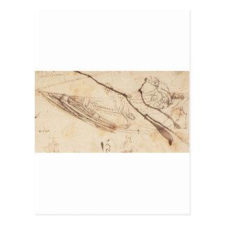 Carte Postale Conceptions pour un bateau par Leonardo da Vinci