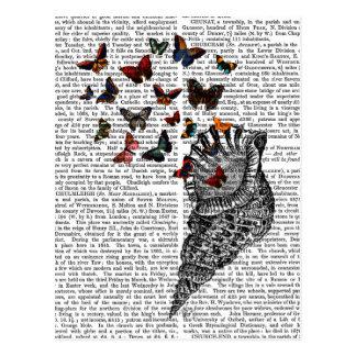Carte Postale Conque Shell et papillons 2