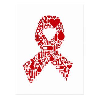 Carte Postale Conscience d'icône de ruban d'aides