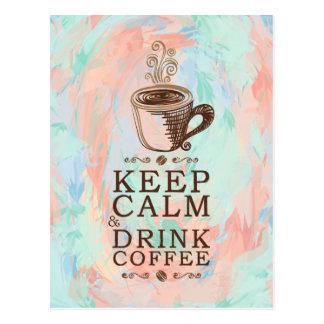 Carte Postale Conservez le café calme de boissons - arrière -