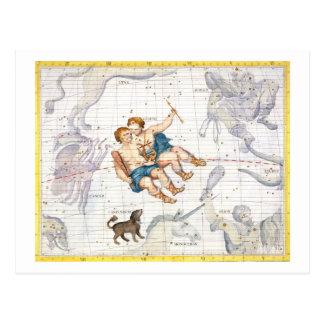 Carte Postale Constellation de Gémeaux avec le mineur de Canis,