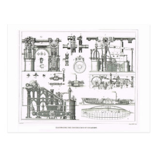 Carte Postale Construction des paquebots