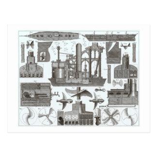 Carte Postale Construction vintage des paquebots 1850
