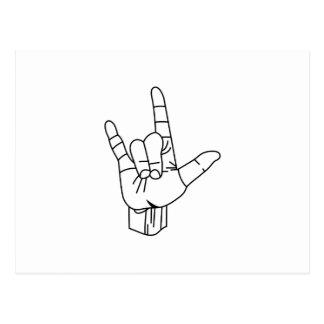 Carte Postale Contour de langue des signes