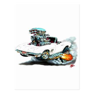 Carte Postale Convertible 1966-67 blanc de Corvette