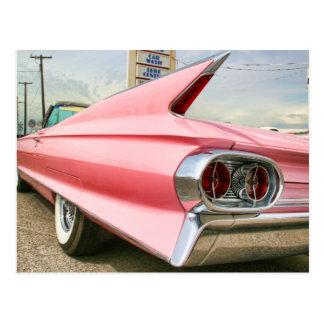 Carte Postale convertible rose de 1962 Cadillac