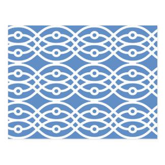 Carte Postale Copie de kimono, bleu de ciel et blanc