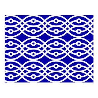Carte Postale Copie de kimono, bleu de cobalt et blanc