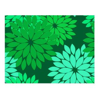 Carte Postale Copie de kimono, émeraude et vert de jade floraux