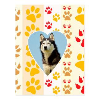 Carte Postale Copie de pattes de coeur de chien de chien de
