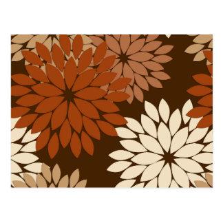 Carte Postale Copie florale moderne de kimono, Brown foncé et