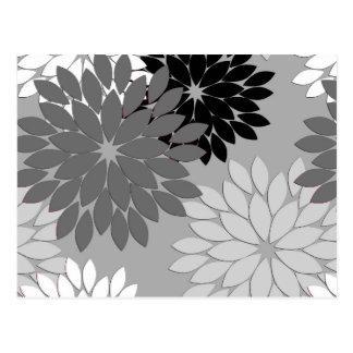 Carte Postale Copie florale moderne de kimono, gris, noir et