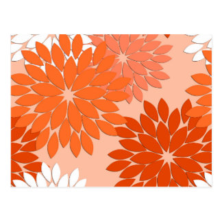 Carte Postale Copie florale moderne de kimono, orange de corail