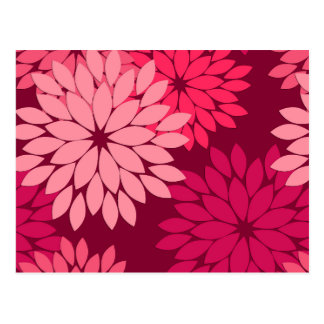 Carte Postale Copie florale moderne de kimono, rose de corail et