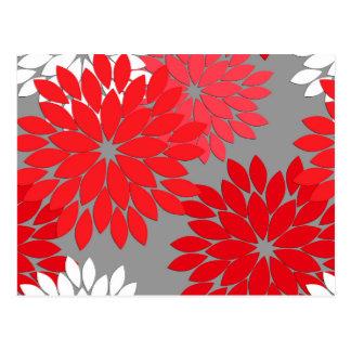 Carte Postale Copie florale moderne de kimono, rouge et gris de