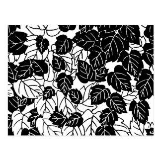 Carte Postale Copie japonaise de feuille, noire et blanche
