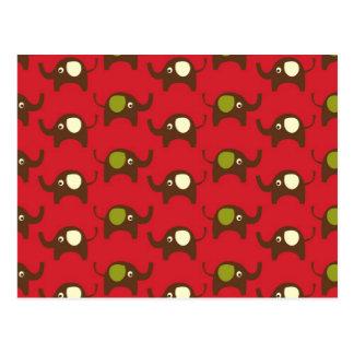 Carte Postale Copie rouge de motif d'éléphants de bonne chance