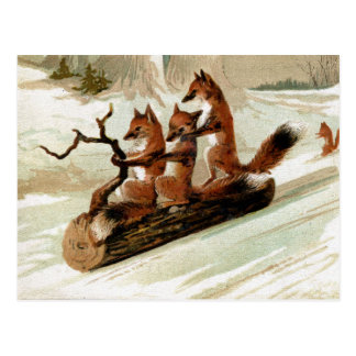 Carte Postale Copie vintage de tour de Fox Sleigh