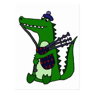 Carte Postale Cornemuse drôle jouant l'alligator
