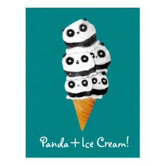 Carte Postale Cornet de crème glacée doux d'ours panda
