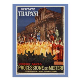 Carte Postale Cortège chrétien Trapani de Pâques de voyage