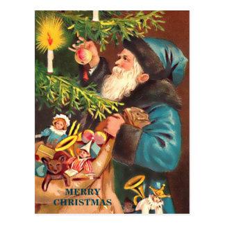 Carte Postale Costume bleu vintage bleu de Père Noël et fourrure