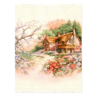 Carte Postale Cottage de pays avec des fleurs