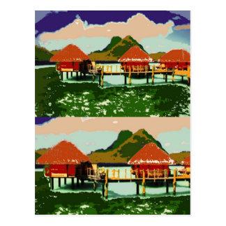 Carte Postale Cottage rouge rêveur de village