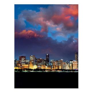 Carte Postale Coucher du soleil d'horizon de Chicago