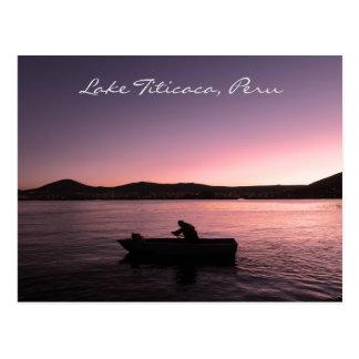 Carte Postale Coucher du soleil du Lac Titicaca au Pérou