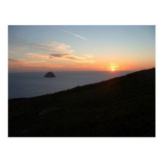 Carte Postale Coucher du soleil outre des îles de Blasket