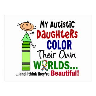Carte Postale COULEUR d'autisme LEURS PROPRES filles des MONDES