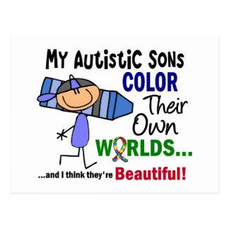 Carte Postale COULEUR d'autisme LEURS PROPRES fils des MONDES