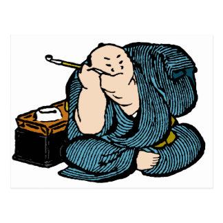 Carte Postale Couleur de tabagisme d'homme de Hokusai