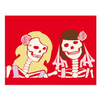 Carte Postale Couples squelettiques femelles de blonde et de