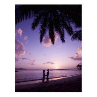 Carte Postale Couples sur la plage, atterrissage de grand