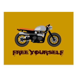 Carte Postale Coureur de café, moto de vélo de gosse libre
