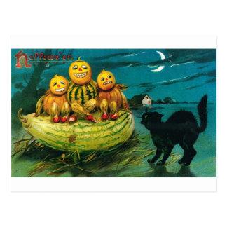 Carte Postale Courge Peopl de Halloween et chat