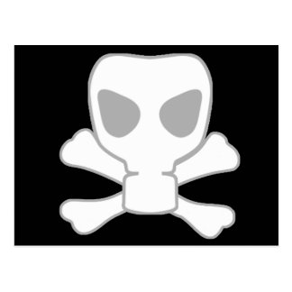 Carte Postale Crâne de masque de gaz de Dubstep avec des os