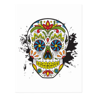 Carte Postale Crâne de sucre, crâne de tatouage, crâne mexicain