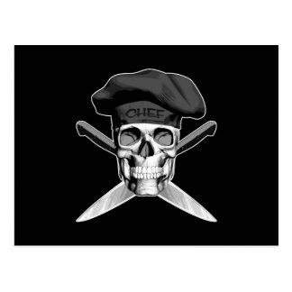 Carte Postale Crâne et couteaux de chef