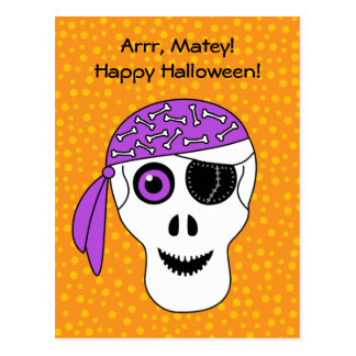Carte Postale Crâne Halloween de pirate
