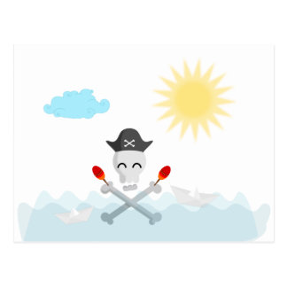 Carte Postale Crâne heureux mignon de pirate avec des maracas