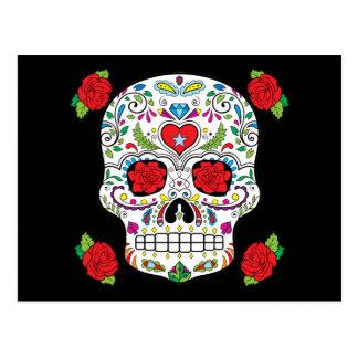 Carte Postale Crâne mexicain de sucre de tatouage et roses