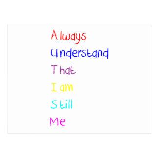 Carte Postale Crayon de poème d'acrostiche d'autisme