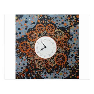 Carte Postale Création du temps. peinture acrylique, steamp