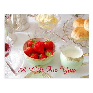Carte postale crème de certificat-prime de thé