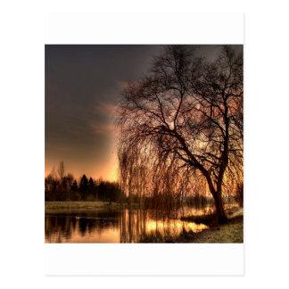 Carte Postale Crépuscule de nature après réflexion rougeoyante