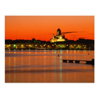 Carte Postale Crépuscule orange, Helsinki, Finlande