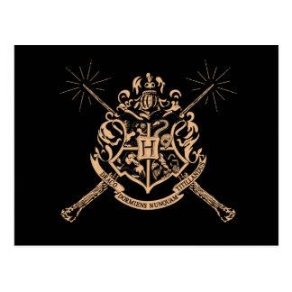 Carte Postale Crête de baguettes magiques croisée par Hogwarts
